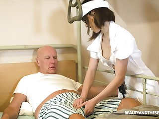 Teen nurse involving glasses Adelle Sabelle gives a wonderful blowjob about senior citizen