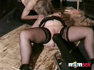 Tied up and attached to fuck machine, plumper wife reaches an orgasm