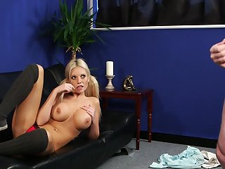 First time this busty blonde watches the man jerking stay away from