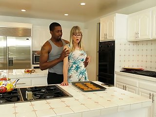 Mature blonde Jamie Foster is cheating on her husband with his handsome black son