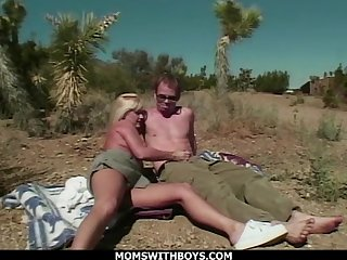 MILF Fair-haired Open-air Abandon Sex With fr