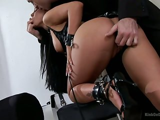 Punished and humiliated hooker with succulent boobs deserves hard anal