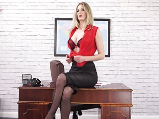 Quite nicely shaped Leah is office nympho who loves massaging the brush boobies