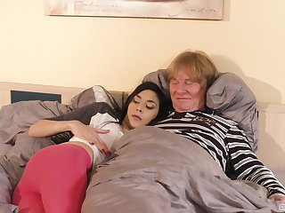 Ashley Ocean has sex about an older man close by doggy style position