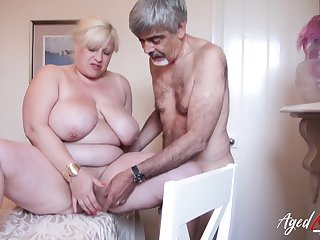 Horny friend is playing with regard to hairy mature pussy of busty blonde
