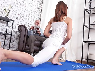 Pretty chick Mina gets fucked off out of one's mind her stepdad after a good yoga boxing-match