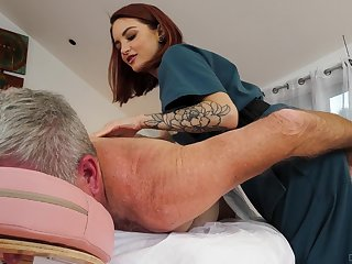 Cute masseuse Lola Fae rides on a high older purchaser in cowgirl pose
