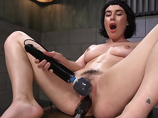 Horny solo explicit olive Glass is naked and penetrates her wet cunt