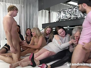 Nasty German pussy and ass fucking on the floor with a quantity of people